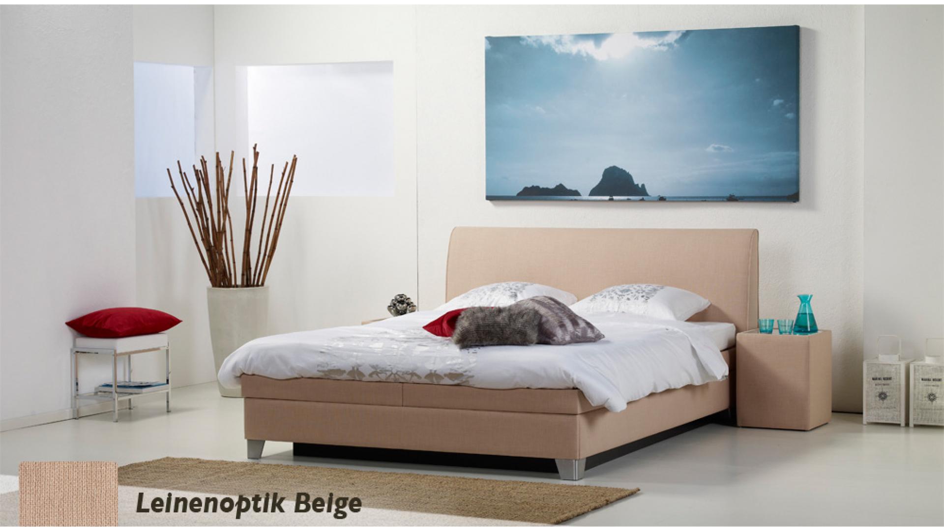 wasserbett luxus box pro leinenoptik beige boxspring-look