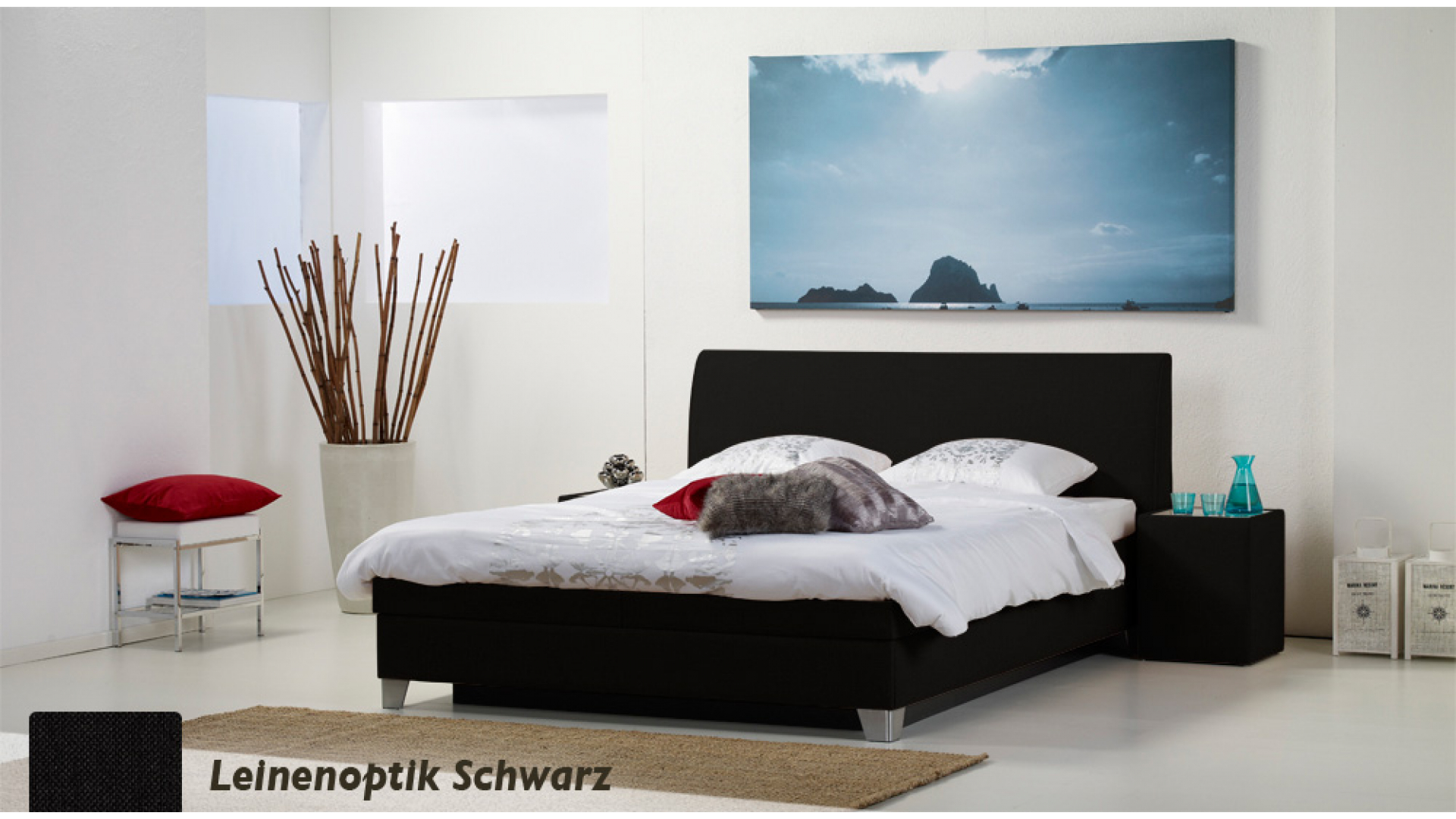 wasserbett luxus box pro leinenoptik schwarz boxspring-look